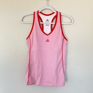 adidas pink red stripe built in tank